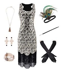 VIJIV 1920s Pearls Lace Gloves Fashion Gatsby Party White Formal Gloves Roarring 20s Flapper Accessories