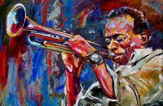 miles davis, jazz trumpet, jazz art, music art, jazz painting, jazz painting by Debra Hurd, painting by artist Debra Hurd