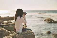 brunette, camera, fashion, girl, lake