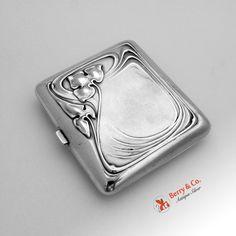 Art Nouveau Cigarette Case 1915 Sterling Silver