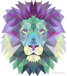 A striking geometric illustration of a fierce lion, the king of the jungle. Distinctive colourful feature from our collection of teal wall stickers. Geometric Lion, Polygon Art, Lion Art, Lion Tattoo, Pet Gifts, Art Paintings, Art Projects, Art Drawings, Lion Sculpture