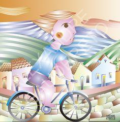 Almofada Menino na Bicicleta - Tamanho 45x45cm