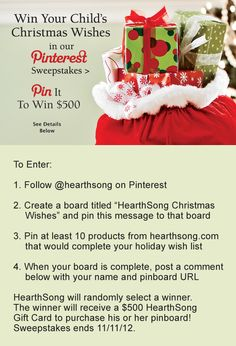 Win your child's Christmas Wishes from HearthSong!