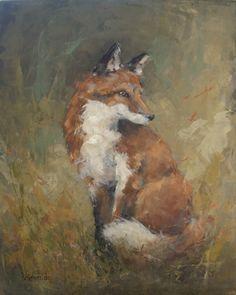 Sly Charmer - Fox wildlife painting - Deb Kirkeeide, painting by artist Deb Kirkeeide