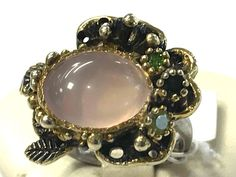 Unique Fineart Jewelry Natural Rose Quartz 925 Sterling Silver Ring Size 8
