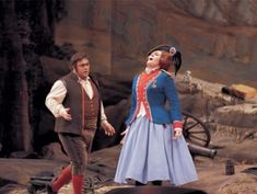 Luciano Pavarotti as Tonio and Dame Joan Sutherland as Marie in La Fille du Regiment, The Met 1972.