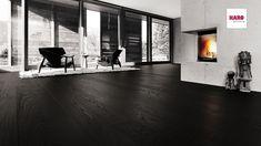 Parkett Manufaktur by Haro 529066 Oak Carbon black Engineered Timber Flooring, Wooden Flooring, Black Floorboards, Black Wooden Floor, Woodworking Organization, Function Room, Wide Plank, My Room, My Dream Home