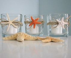 Beach Decor Starfish Candle Votives - Shell Candle Votive Holders w Trio of Beach Starfish - an easy diy with twine, starfish or shells, and a hot glue gun.