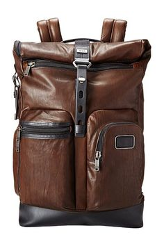 Tumi Alpha Bravo Luke Leather Roll-Top Backpack (Dark Brown) Backpack Bags - Tumi, Alpha Bravo Luke Leather Roll-Top Backpack, 092388DB2, Bags and Luggage Backpack, Backpack, Bag, Bags and Luggage, Gift, - Street Fashion And Style Ideas