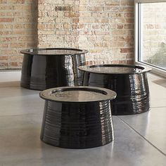 Set of 3 Brush Bamboo Tables