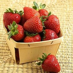 Strawberries     Bursting with fiber and vitamin C (149 percent of your daily recommended intake!), a cup of sliced strawberries is a cup full of healthy benefits.     Nutrition facts (1 cup): 49 calories, 0.5g fat, 11.7g carbohydrates, 3g fiber, 1g protein