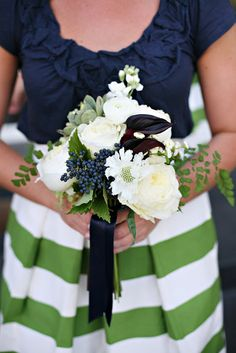 navy and white party | green and white bridesmaid skirt with bouquet