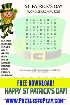 Printable Puzzles, Crossword Puzzles, Free Printable Worksheets, Free Printable Coloring Pages, Easter Activities, Spring Activities, Fun Activities, St Patrick's Day Words, Love Words