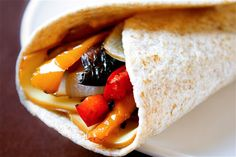 Roasted Veggie Wrap -- 5 minutes of prep for this balsamic-garlic roasted veggie and smoked cheese deliciousness. Dinner Recipes For Kids, Healthy Dinner Recipes, Kids Meals, Vegetarian Recipes, Roasted Veggie Wrap Recipe, Smoked Cheese, Gimme Some Oven, Veggie Wraps, Healthy Lunches