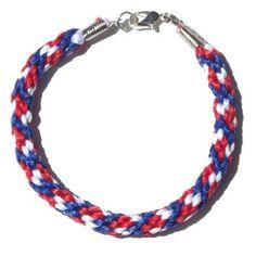 Blue White Red Braided Kumihimo Nylon Bracelet Handmade