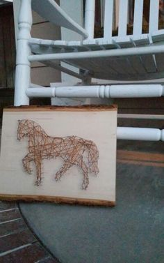 Horse string art I made for a present :)