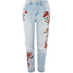 Topshop Petite Flower Embroidery Bleach Denim Mom Jeans (1,355 EGP) ❤ liked on Polyvore featuring jeans, bleach denim, bleached denim jeans, topshop jeans and petite jeans