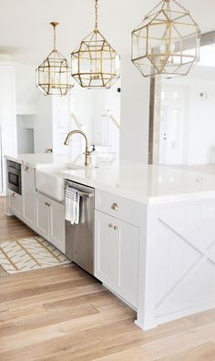 30 Elegant White Kitchen Design and Decor Ideas. 30 Elegant White Kitchen Design and Decor Ideas. A kitchen is not only one of the most necessary sections of a house, however conjointly has a major role determining the resale price of . White Kitchen Cabinets, Kitchen Cabinet Design, Interior Design Kitchen, Kitchen White, Country Kitchen, Gold Kitchen Hardware, Kitchen Cabinetry, Kitchen Floors, Island Kitchen