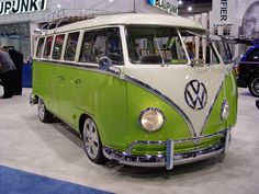 I have ALWAYS wanted a microbus. It really is the vehicle I would choose over any other. This one is especially awesome! Check out that green! I love it, in fact, I had a kitchen that was this colour :)