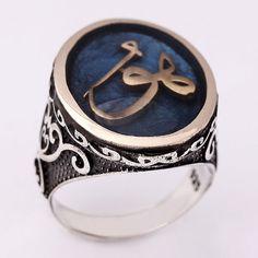 """""""HU"""" yazılı, gümüş erkek yüzüğü"""
