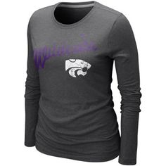 Nike Kansas State Wildcats Ladies Angler Tri-Blend Long Sleeve T-Shirt -  Charcoal 8c71880c6