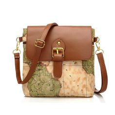 Vintage World Map Messenger Bag Crossbody Bag (640 RUB) found on Polyvore