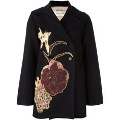 Valentino 'Kimono 1997' coat ($6,250) ❤ liked on Polyvore featuring outerwear, coats, black, valentino coat, double breasted coat, long sleeve coat, kimono coat and long sleeve kimono