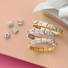 """Celebrate your own birthday with some new Links or give them as a gift! The """"Happy Birthday"""" Links are the perfect way to start a new bracelet for friends and family! Discover the selection, link in BIO. Nomination Charms, Nomination Bracelet, Birthday Love, Spring Collection, Costume Jewelry, Create Yourself, Pandora, Bling, Jewellery"""