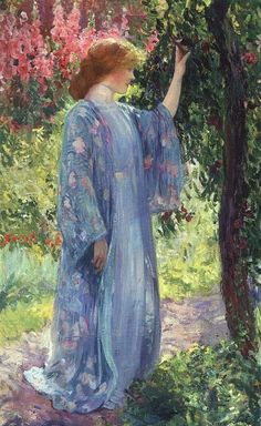 Japonisme by American artists. Arvid Nyholm (American artist, 1866 – 1927) Young Woman in Kimono
