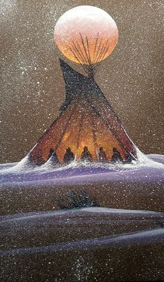 interesting painting, I like the effect of the red moon and the lit tepee and the splatter of white snow Native American Paintings, Native American Pictures, Native American Wisdom, Native American Indians, Southwestern Art, American Indian Art, Indigenous Art, Aboriginal Art, Native Art