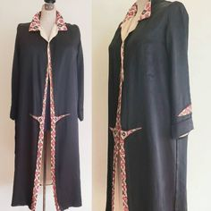 1920s Black Silk Coat Beaded Red Embroidery / 20s Long Jacket Robe Colorful Trim Art Deco Lounger by RareJuleVintage on Etsy
