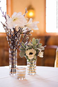 Anemone, Lambs Ear, Lavender, and Pussywillow Centerpiece