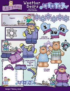 Let DJ's warm & whimsical 'Weather Bears' help you teach & share a smile about the seasons, weather, calendars & MORE! 'Weather' you're a teacher or a crafter... this collection will make you SMILE all season long!  Go to product: http://www.djinkers.com/winterweather.html