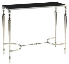 Nassau Console Table in Polished Nickel Metal Finish