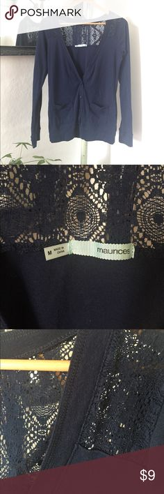 Navy Blue Cardigan Cute, navy blue cardigan; Lace detail. Maurices brand, size M. Like new Maurices Sweaters Cardigans