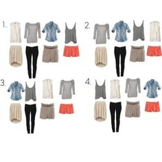 Capsule wardrobe / packing light needn't be hard: 4 tops that all pair well with 4 bottoms = 16 different outfits. Dress up with scarves, statement necklaces, etc. Travel Packing Outfits, Travel Capsule, Travel Wardrobe, Packing Tips, Capsule Wardrobe, Packing Clothes, Travel Wear, Weekend Packing, One Suitcase