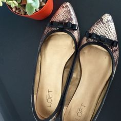 """Gorgeous snake print flats Snake print pointy toe flats with contrasting trim and bow, from LOFT. Padded footbed, textured rubber sole and a small 1/4"""" heel. Barely used, no stains or scuffs. All man made materials. LOFT Shoes Flats & Loafers"""
