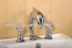 Ordinaire CHROME WIDESPREAD LAVATORY BATHROOM SINK Dolphin FAUCET Crystal Handles Dolphin  Sink Faucet
