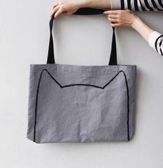 Sac chat surdimensionnées, cadeau pour cadeau amoureux de chat pour femmes chat fou dame cadeau de son drôle sac, sac dame chat, chat dessin