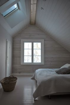 Sparse and calming Modern Master Bedroom, Master Bedroom Design, White Painted Floors, Country House Interior, Attic Rooms, Living Styles, Home Renovation, Decoration, Cottage