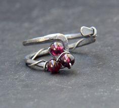 Rhodolite Garnet Ring Dainty Oxidized Silver Ring 30th | Etsy Garnet Rings, Garnet Gemstone, Beautiful Rings, Beautiful Necklaces, 50th Birthday Gifts For Woman, Open Ring, Oxidized Sterling Silver, Ring Designs, Minimal Style