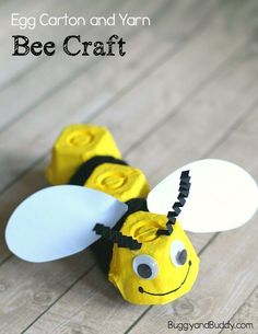 Egg Carton Bee Craft for Kids with Yarn: Make a bumble bee art project and practice fine motor skills with yarn wrapping too! Great addition to a unit on bugs or insects and fun to do for Earth Day or in spring or summer! ~ BuggyandBuddy.com