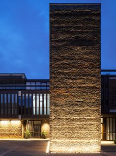Nulty - Baylis Old School, London - Conversion Brutalist Architecture Exterior Illumination