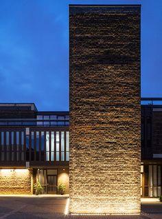 Nulty - Baylis Old School, London - Conversion Brutalist Architecture Exterior Illumination