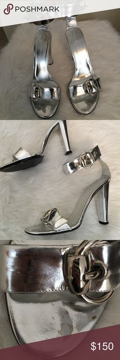 Gucci Silver Buckle Up Heels Super cute silver Gucci Buckle Heels. Worn only once. Has a few minor scrapes, see pictures. Gucci Shoes