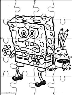 Printable jigsaw puzzles to cut out for kids SpongeBob 38