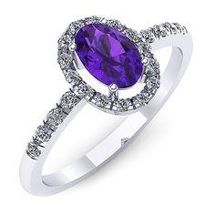Inel de logodna cu un ametist oval si diamante