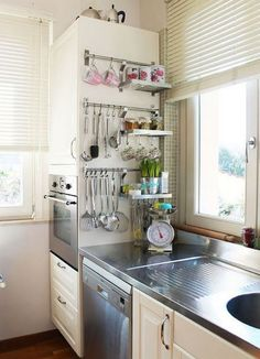 Tiny Kitchen Storage Ideas Shelves Ideas For 2019 Kitchen Desk Organization, Kitchen Utensil Storage, Kitchen Desks, Small Kitchen Storage, Small Space Kitchen, New Kitchen Cabinets, Cute Kitchen, Cheap Kitchen, Apartment Kitchen