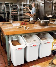 www.StailnlessSteelTile.com likes the flour bins under bench for a commercial…
