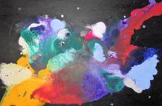 Quadro pittura a olio misto astratto floreale fragment
